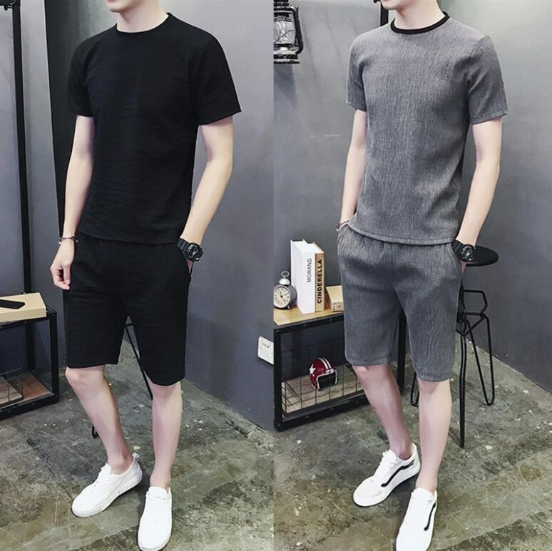 Summer men's short sleeve T shirt south Korean casual suit 2020 new cool hot summer two-piece suit