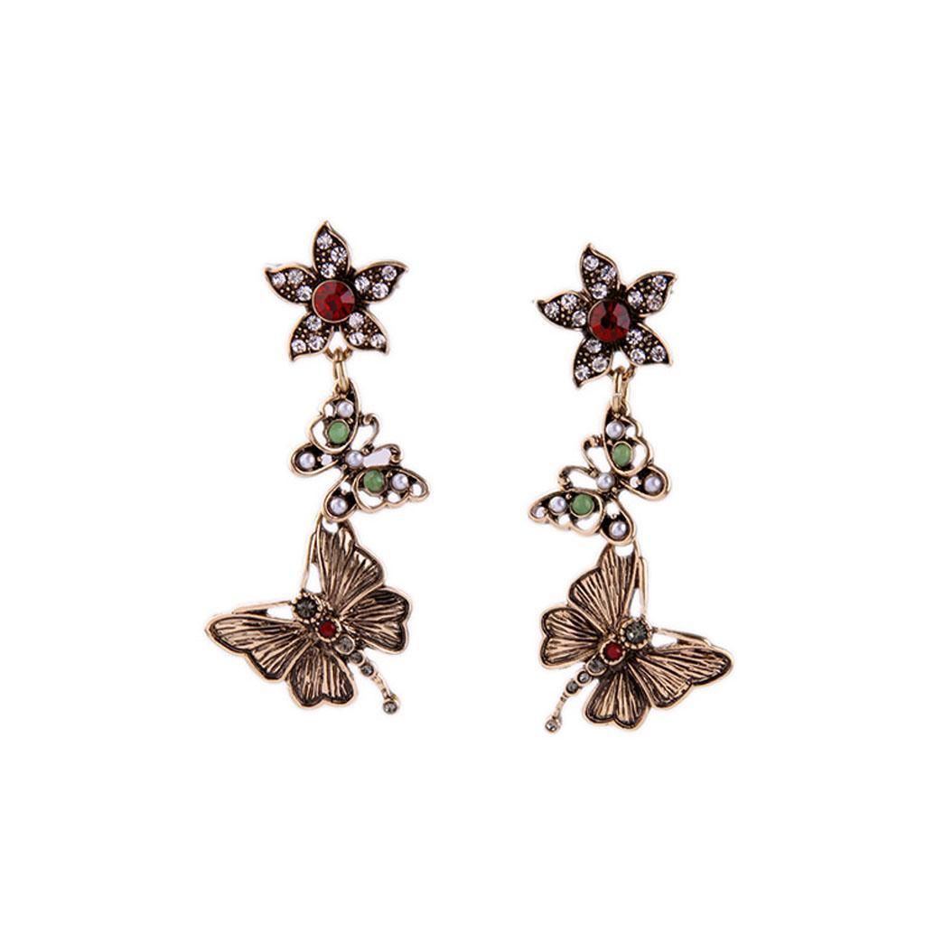 Cuelga los pendientes de la mariposa mujeres de accesorios de moda Stud Pendientes retro de la flor