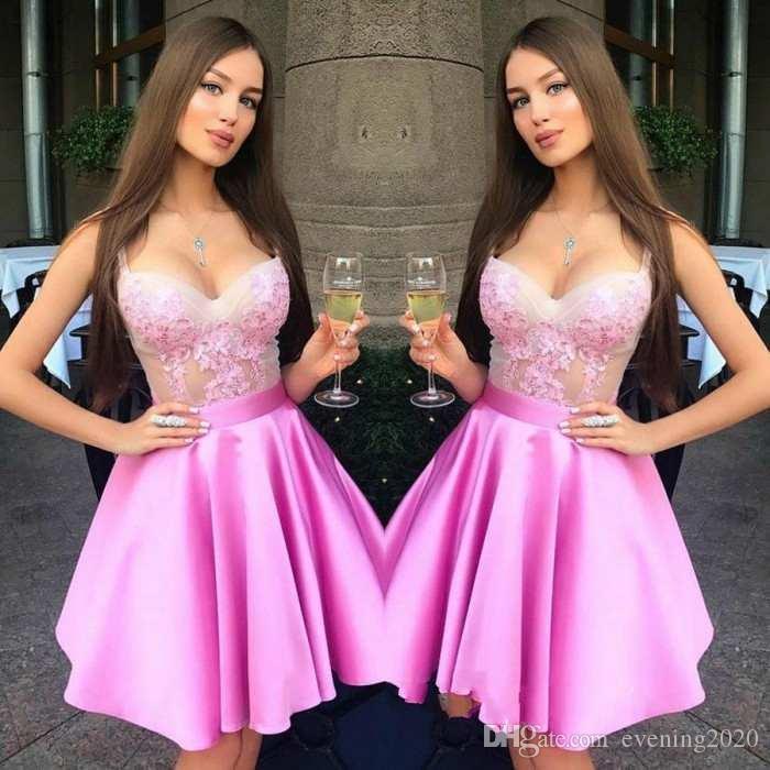 우아한 핑크색 짧은 파티 드레스 Scoop A-Line 레이스 Appiques와 Sash Special Occasion Dresses 섹시한 이브닝 드레스