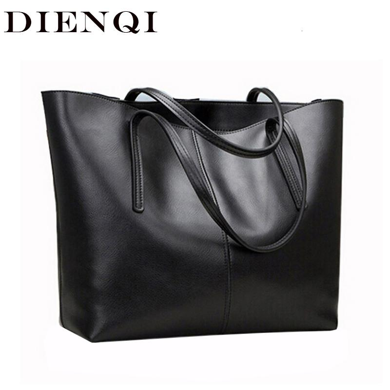 DIENQI High Quality Big Capacity Genuine Leather Shoulder Bags for Women 2018 Luxury Fashion Ladies Handbags Black sac a main T191024