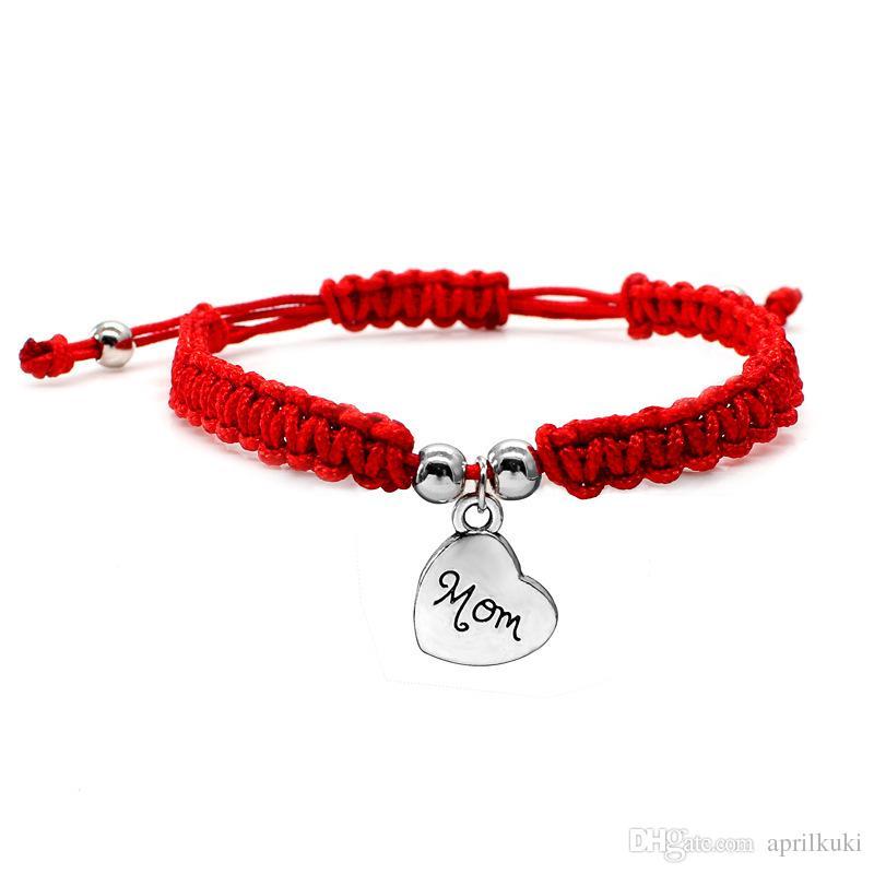 هدية عيد الأم أمي أساور موضوع أحمر لاكي مجوهرات ل أمي سحر أساور هدية عيد الأم الأسرة يبارك سوار