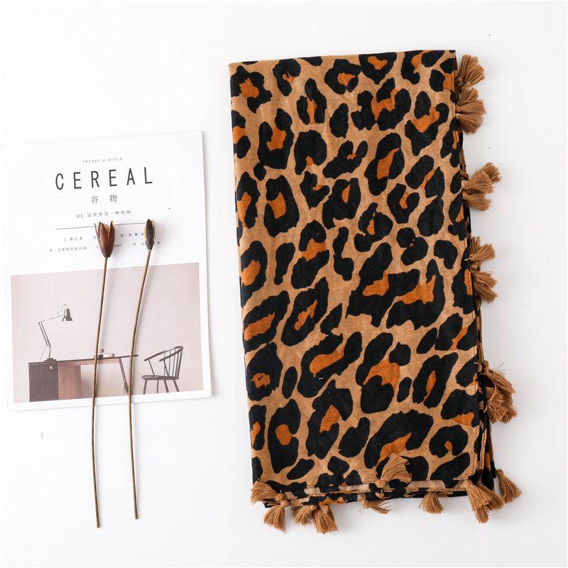 Season Scarf Super Cotton Scarf Shawl Dual Purpose Classic Coffee Color Leopard Print Long Fund Scarf Ma'amNew Hot Fashion