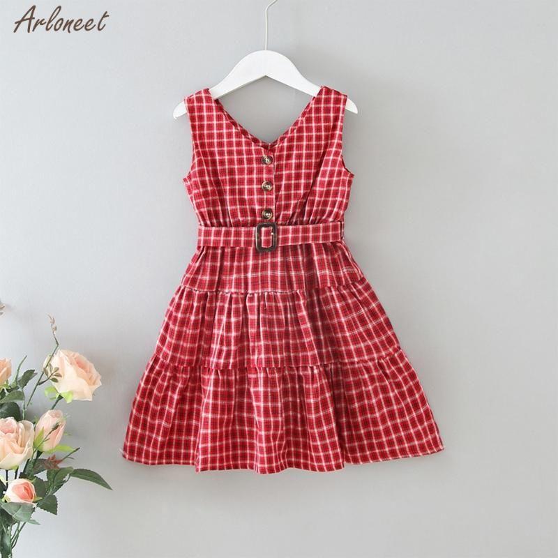 Moda Bebê meninas miúdos mangas Plaid Botão Imprimir V-neck vestido com cinto de Verão Bebés Meninas Casual Cotton roupas Vestido Novo