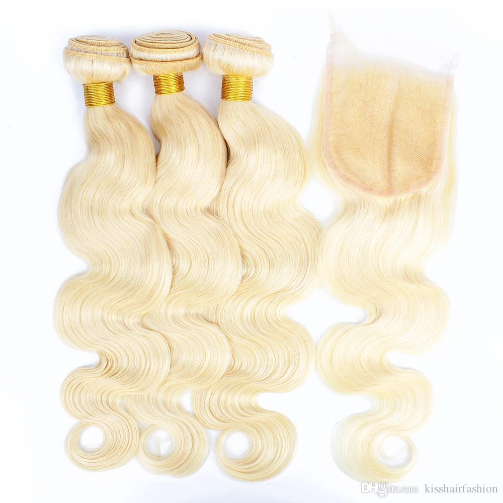 BISSHAIR 613 Paquetes rubios con cierre Blonde Blonde Human Hair Weave Bundles Brasil Body Wave Virgin Remy Pelo Extensiones