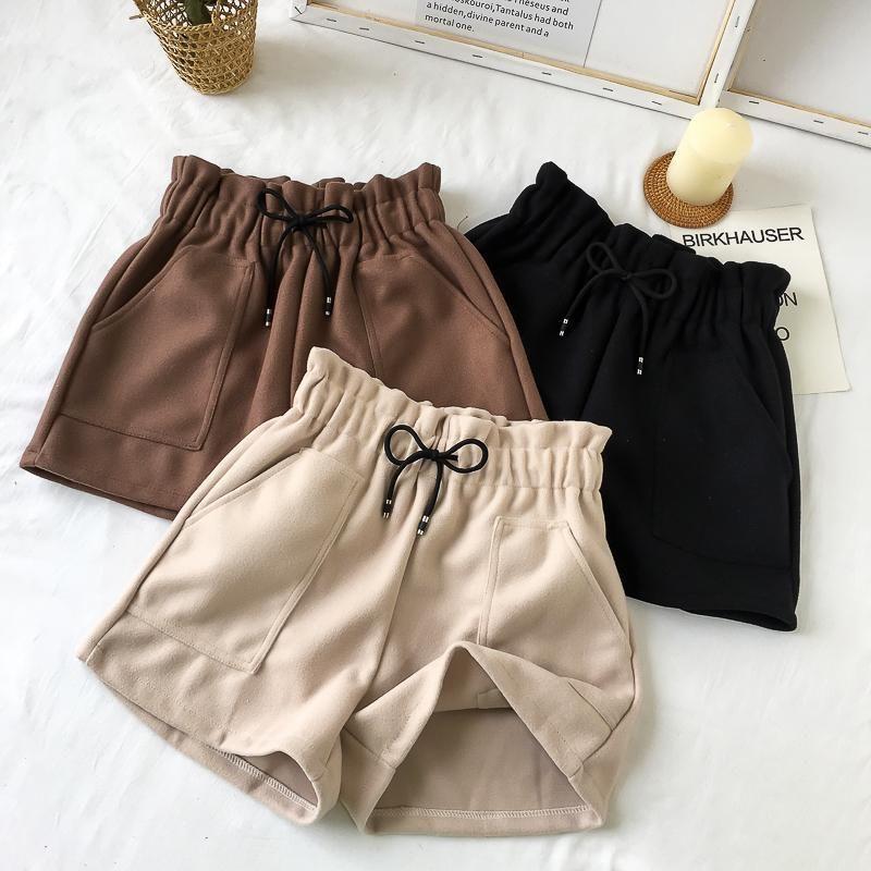 Plus Size High Waist Wide Leg Black Shorts Women Autumn Winter Solid Short Casual Thicken Warm Ladies Woolen Shorts Elastic 2019 Y200511