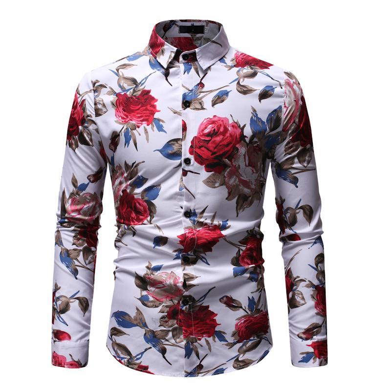 2019 Vendita calda camicia da uomo stampata floreale Camicia da uomo slim fit stampa rosa Camicia Bar Wear Camisa Masculina primavera Blusas