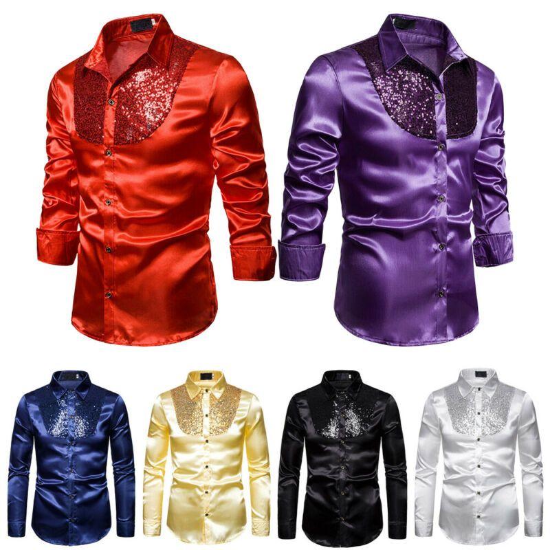 Şık Beyaz Ipek Saten Gömlek Erkekler Chemise Homme 2020 Casual Uzun Kollu Slim Fit Erkek Elbise Gömlek Iş Düğün Erkek Gömlek