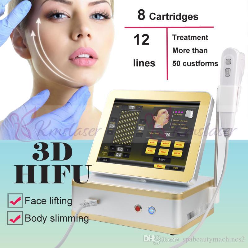 8 cartucce 12 linee 3D HIFU macchine ad ultrasuoni HIFU ad alta intensità focalizzata sulla pelle terapia body shaper dimagrante hifu beauty