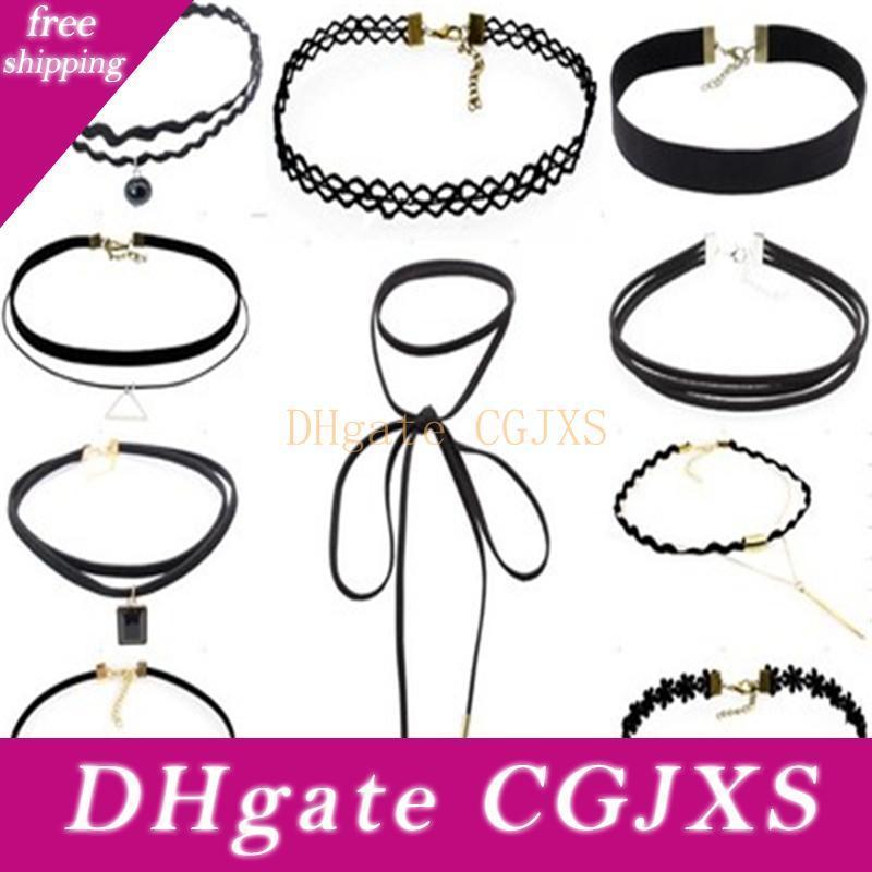 Fashion Gothic Punk 10 PCS / Set Halsband NecklacesTattoo Black Lace Leder Velvet Collier Frauen Kragen Femme Coallr Schmuck