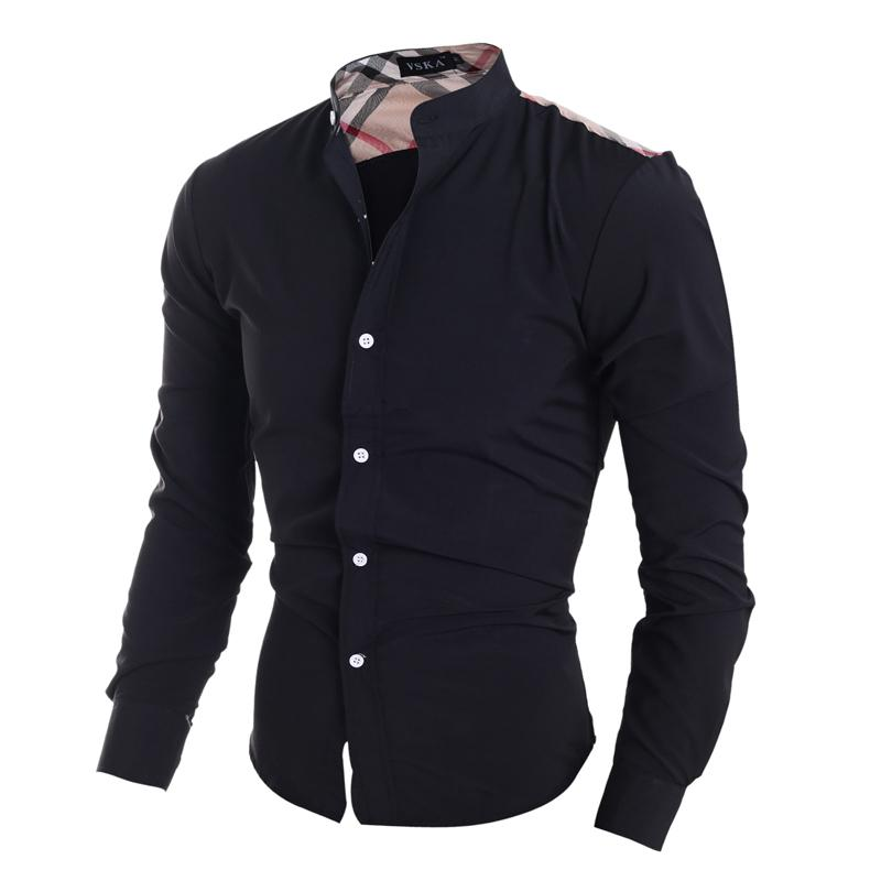 Wholesale- Klassisches kariertes Patchwork-Design für Männer Casual Shirts amerikanischen Stil, Mode Jungen dünnen Sitz volle Hülse kleidet freies Schiff