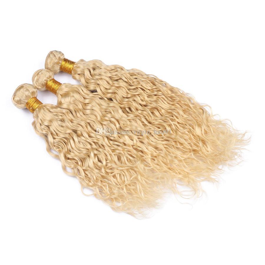 Волосы на блондинке с водной волной 100% натуральные перуанские наращенные волосы 3 пучка по 300 г