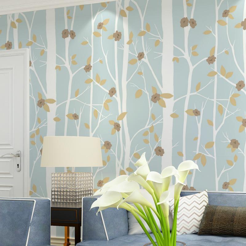 꽃 현대 배경 화면 홈 장식 3d 벽지 분기 트리 블랙 화이트 비 짠 벽 종이 롤 장식, 침실 벽지