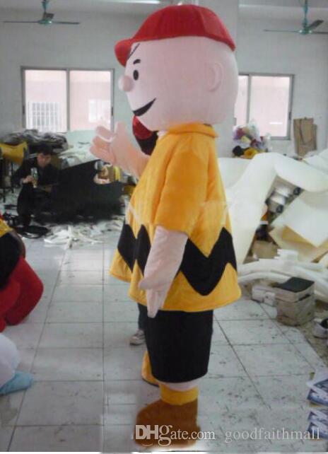 2019 alta calidad de encargo profesional Charlie Brown mascota de la historieta del traje de la mascota del muchacho de la ropa del personaje del fiesta de Halloween de Navidad Dres Fancy