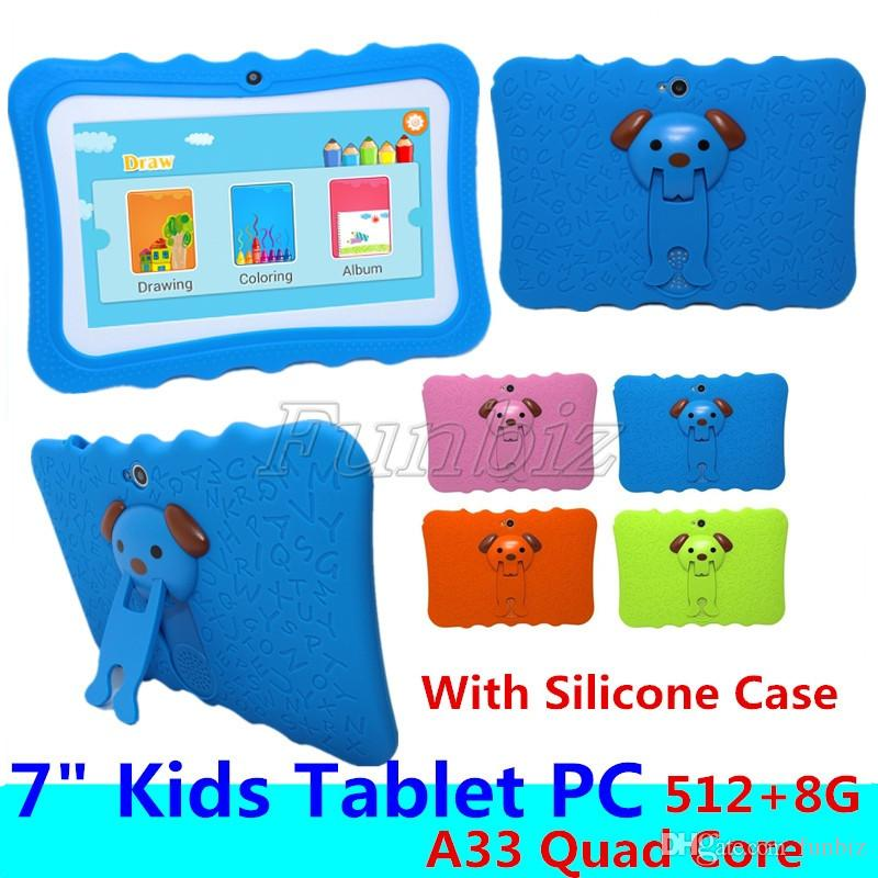 "Kids Brand Tablet PC 7"" Quad Core children tablets Android 4.4 Allwinner A33 google player wifi big speaker protective cover"