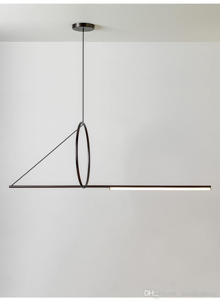Pós-moderna minimalista pingente geométrica sala de estar sala de jantar pingente lâmpada criativa tira personalidade luzes pingente cabo preto