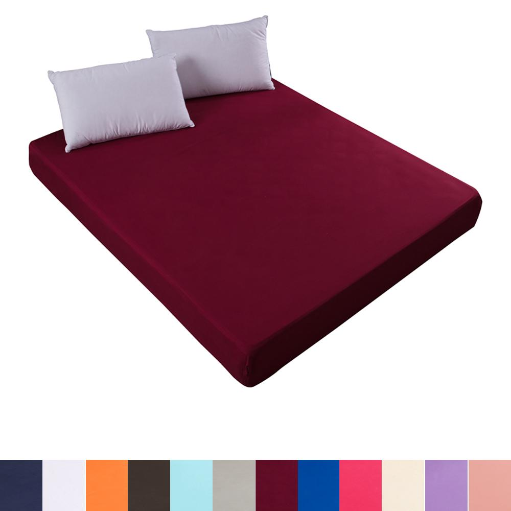 Solid color fitted sheet mattress cover with all-round elastic rubber band bed sheet for twin full queen king single double size