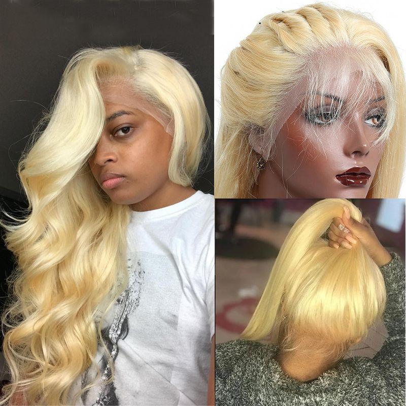 금발 인간의 머리 레이스 앞 가발 사전 뽑아 바디 웨이브 처녀 페루 머리 글루리스 (613) 금발 전체 레이스 프런트 가발 블랙 여성