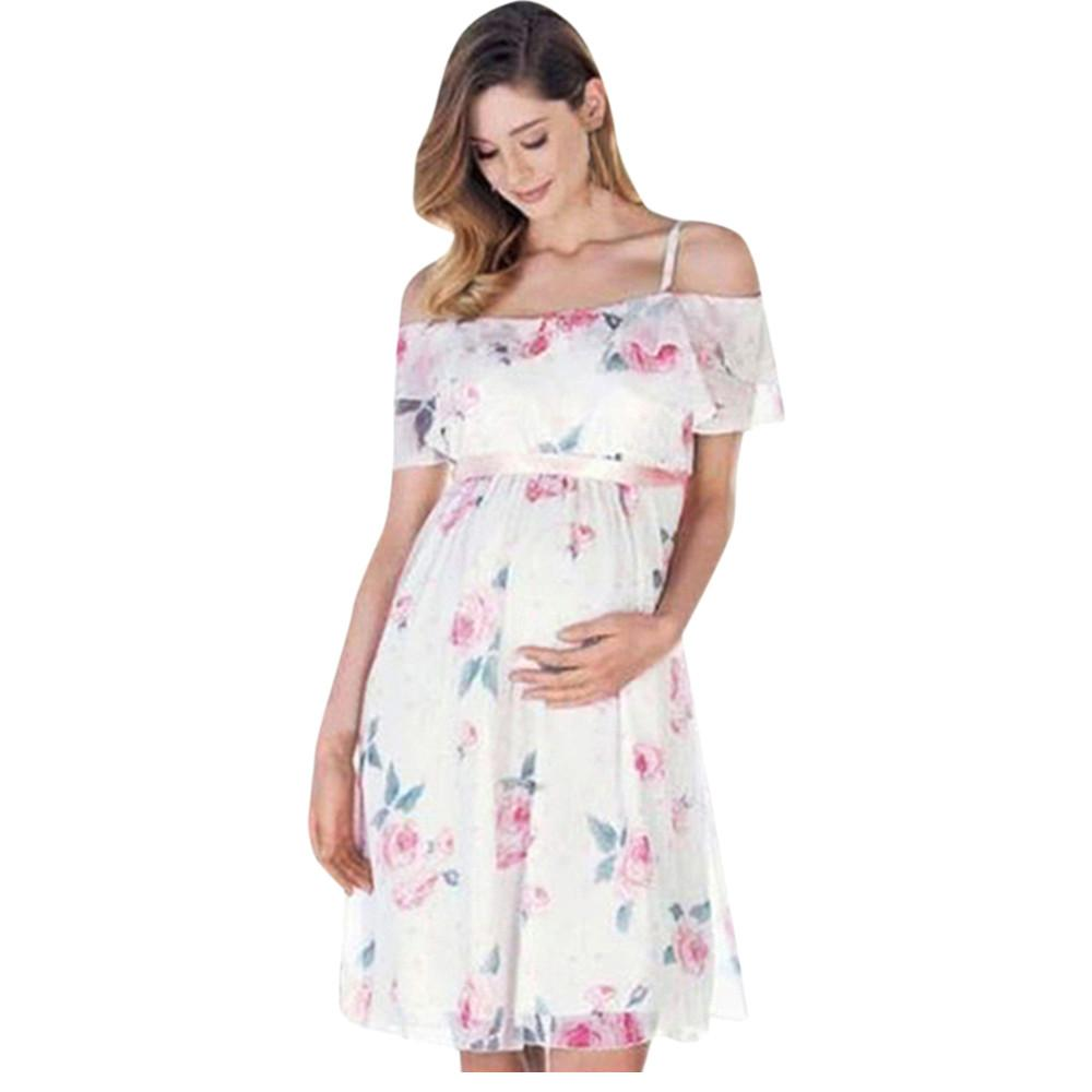 Womens Mother Floral Print Pregnant Off Shoulder Chiffon Dress For Maternity Clothes Sweet Elegant Maternity Dress Summer