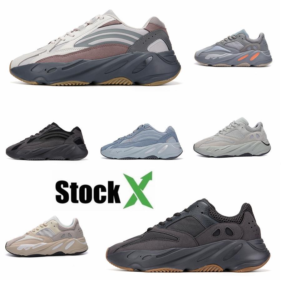 2020 zapatos corrientes de Tim Nueva Mnvn 700 Naranja V1 V2 V3 Bone inercia Tefra estático sólido Kanye West Hospital de las zapatillas de deporte para hombre de Carbono Azul Azul # DSK717