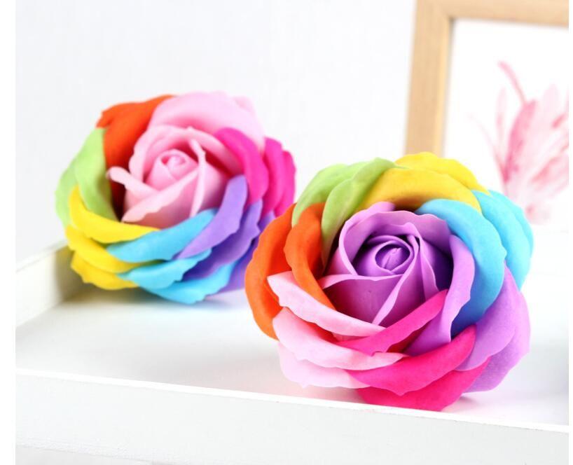 Rainbow 7 Colorido Rose Sabonetes Floward Casamento Casamento Suprimentos Presentes Eventos Festa de Eventos Favor Sabão Soap Scented Casa de Banho Acessórios