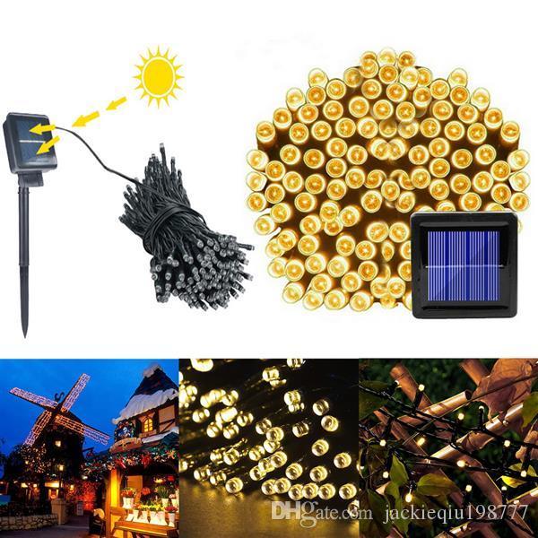 Sıcak Beyaz Işık Açık Suya Noel Dekorasyon Güneş Enerjisi Dize Işık lamba 200 LED