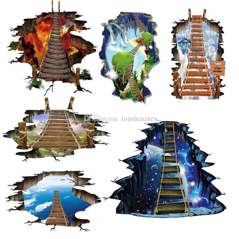 6 design NEW Large 3d Cosmic Space Wall Sticker Galaxy Star Bridge Home Decoration for Kids Room Floor Living Room Wall Decals Home Decor
