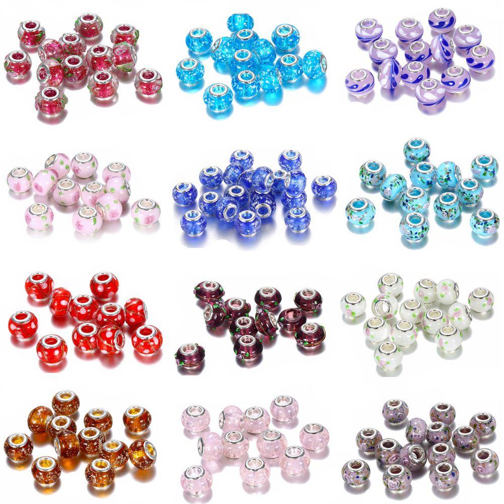 19 colori Big Hole Glass Branelli di cristallo Perline di fascino Spacer allentato Artigianato Argento europeo in rilievo con 925 francobollo per bracciale gioielli