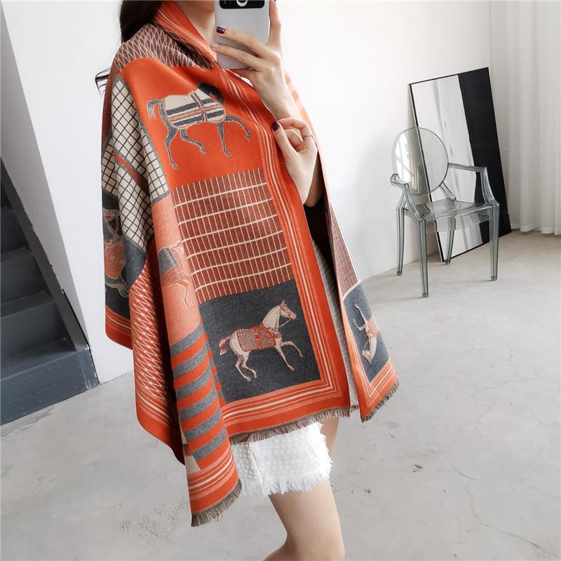 Autumn Winter Brand Scarf Luxury Cashmere Scarf Women Designer Wraps Warm Shawl Long Thick Padded Neck