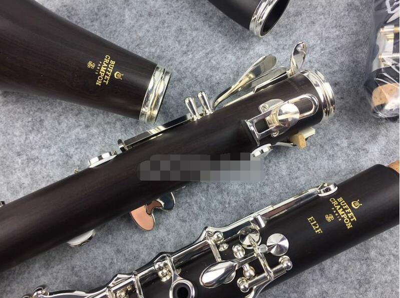 Buffet Crampon E12F 17 Clés Bb Clarinette haute qualité ébène / bakélite B Clarinette plat Instrument de musique Livraison gratuite avec Embouchure CaseB