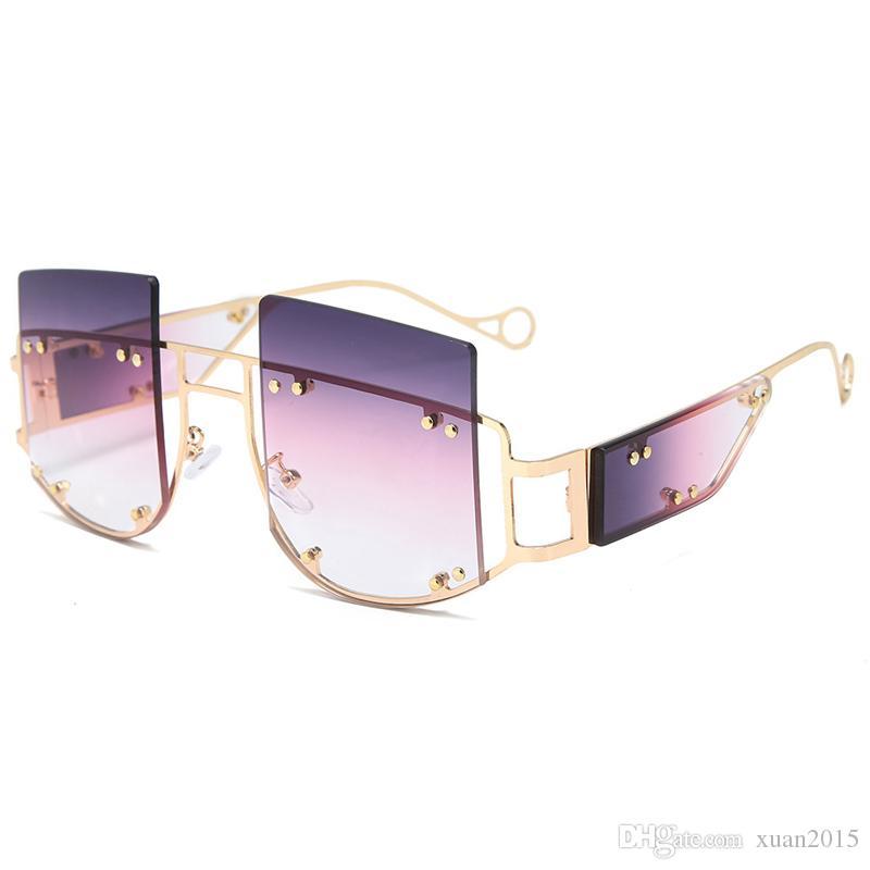 2019 New Square Rivet Trend übergroße Sonnenbrille Männer Frauen Brand Design Metall Big Rahmen Vintage Black Tea Lila Brillen UV400Y181
