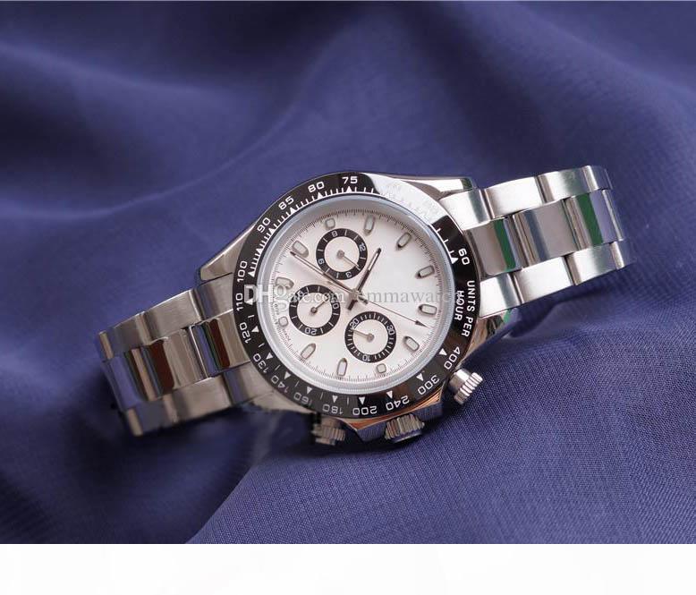 Relojes para hombre del bisel de cerámica blanco de la manera Dial cierre desplegable de pulsera masculino los 3 Función diales trabajo lleno de pulsera de reloj nuevo de la manera Día