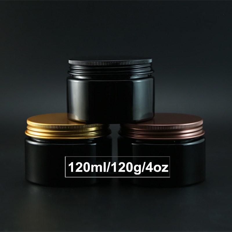 الجملة 4OZ إفراغ الأسود كريم الحاويات مع الالومنيوم كاب برغي 120ML مسحوق التجميل زجاجة جرة بالجملة