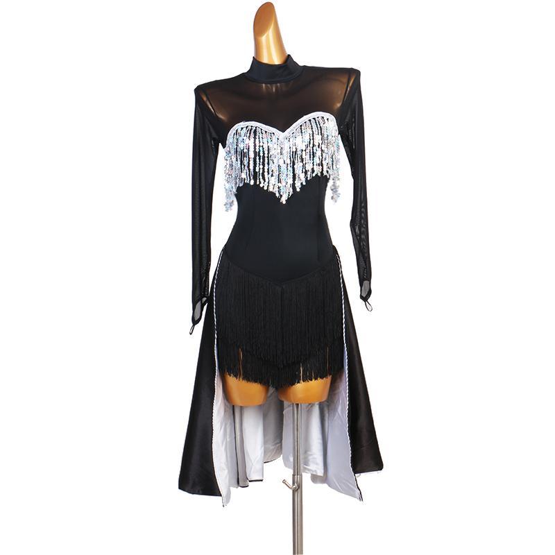 lateinisches Kleid Wettbewerb Kleider Junior Kinder Frauen Samba Rumba Tango Latin Tanzkleid schwarz Pailletten lq177