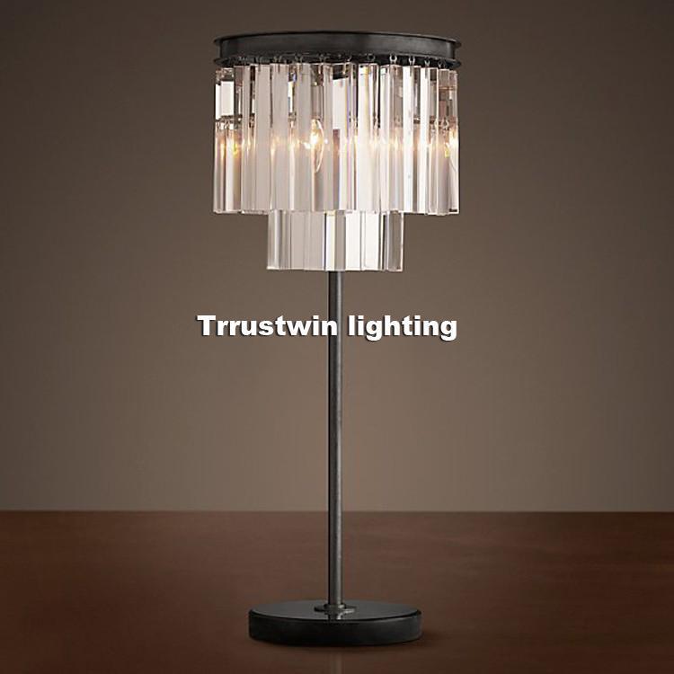 Aile Otel Başucu Masa Lambası Retro Loft Tiffany Cam Kristal Masa Işık Modern Vintage Kristal Masa Lambası Masa Işık