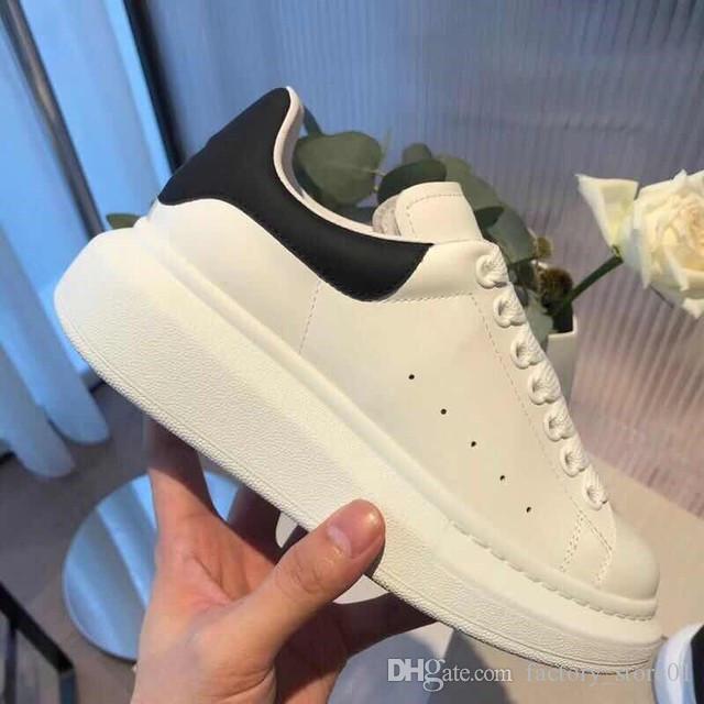 أعلى جودة أحذية عارضة جلد طبيعي أحذية رياضية رجالي للمرأة العصرية مدرب الأبيض منصة أحذية جلدية شقة Chaussures