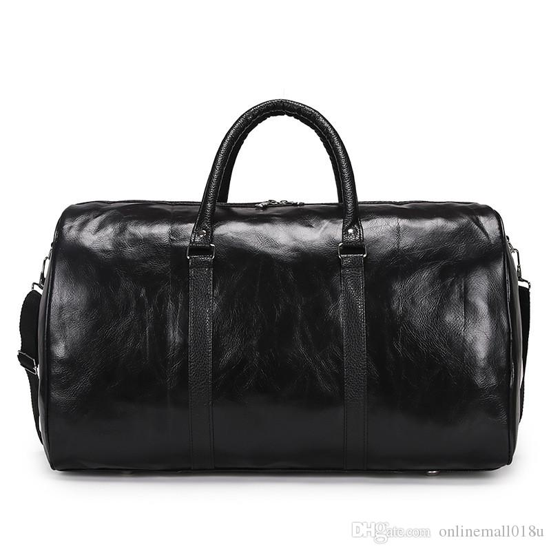 Bolsa de viaje de cuero Gran capacidad Bolsa de equipaje impermeable Hombres Bolsas de lona Llevar en la bolsa de viaje Bolsa de viaje de fin de semana Maleta de la noche