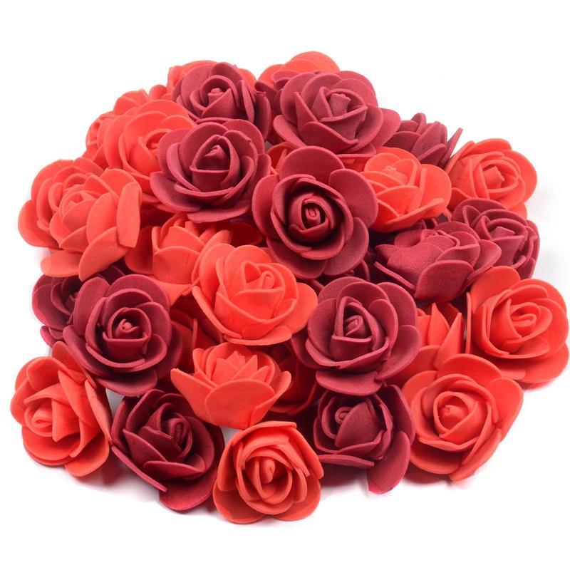 100 piezas 3.5cm Jefes Artificial Rose de la espuma falsificación flor para DIY de la guirnalda Inicio decoración de la boda flor barata accesorios hechos a mano