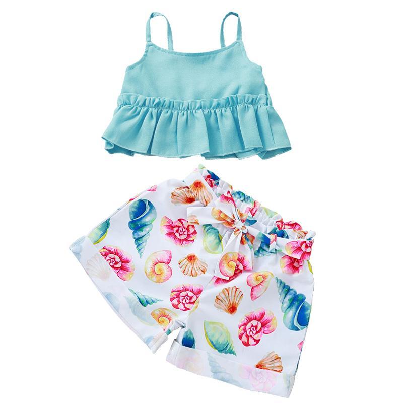Niñas Mezclas de algodón azul claro y Shell Tops Pantalones Imprimir Conjunto de dos piezas liga de los niños de la correa Tops y Short Pant Traje conjuntos de verano de los niños