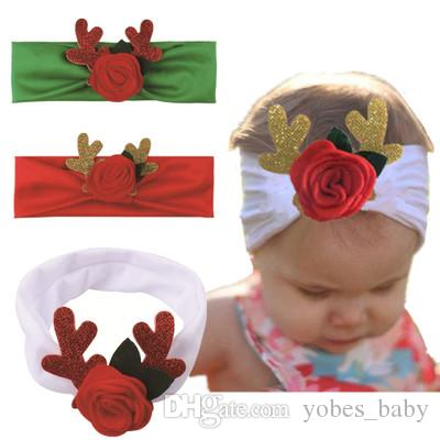Newborn Baby Toddler Girls Christmas Shabby Flower Headbands Soft Elastic