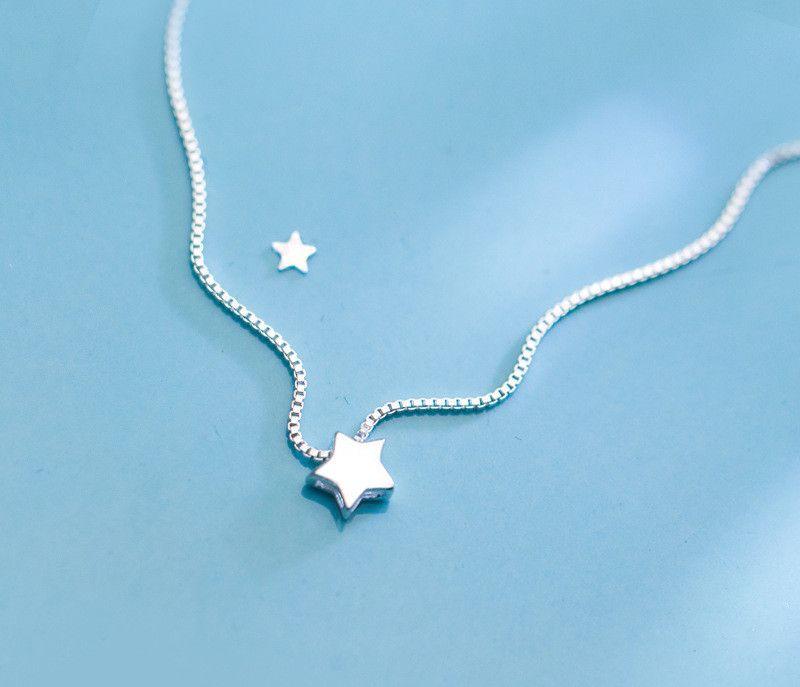 Nouveau 925 mode en argent sterling simples étoiles mariage fête fraîche beauté collier soir D1919