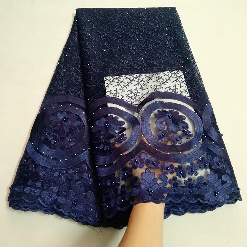 Blu scuro 2019 Ultime Tulle africano partito del tessuto da sposa in pizzo tessuto del merletto nigeriano francese guipure di alta qualità francese Tulle Pizzo