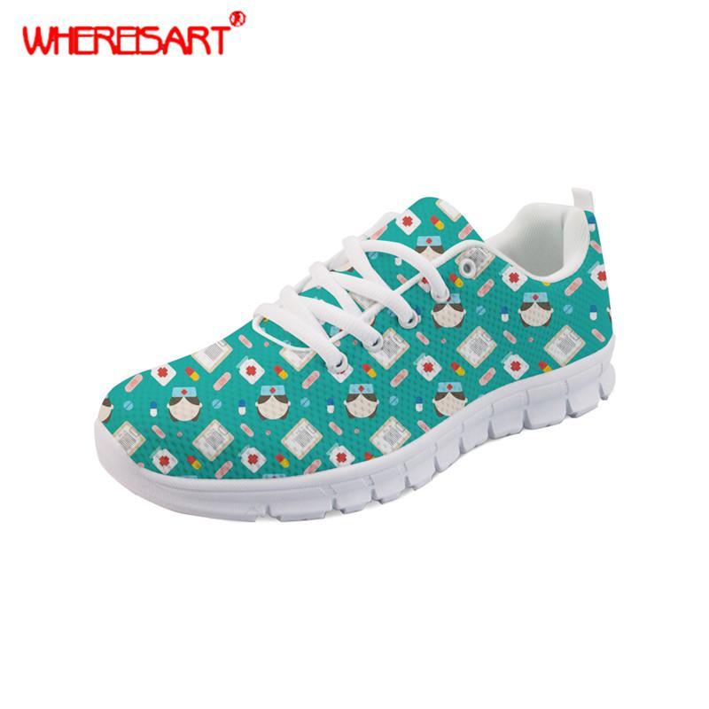 Zapatos para mujer de WHEREISART Patrón adolescentes Cirujano zapatillas de deporte de las señoras con cordones de zapatos planos Las hembras de malla Pisos Zapatos