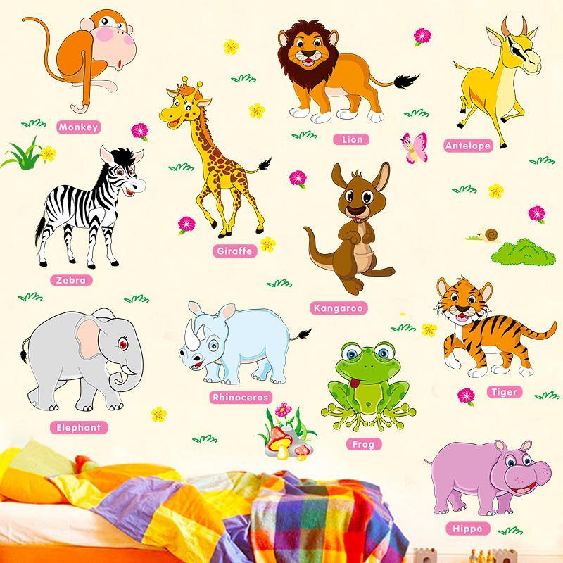 2020 귀여운 벽 스티커 아이 방 정글 동물 벽지 아기 보육 아동 홈 인테리어 벽화 벽 스티커 데칼 동물원 벽 포스터