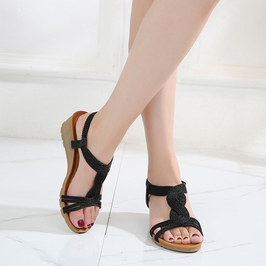2019 летние женские тапочки Рим ретро повседневная обувь с толстым дном сандалии с открытым носком пляж скольжения на слайдах женский #3 T200327