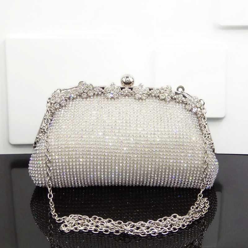 Sac Diamonds Soirée Femmes Nouveau Partir Sacs de mariage pour la mariée Silver Messenger Embrayage Sac à main élégante chaîne Ekaoh