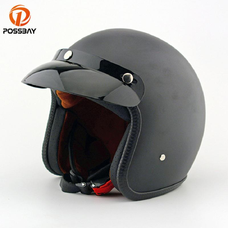 POSSBAY abierto de la vendimia de la motocicleta Casco Casco Moto Motocicleta Capacete Retro Negro moto de motocross casco para