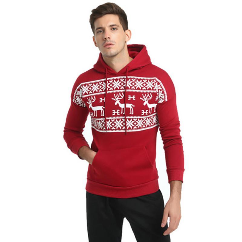 kerst trui 2020 2020 Christmas Snowflower Prints Pullover Winter Hooded Sweatshirt