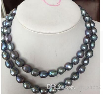 Livraison gratuite charmant 12-13mm collier de perles de culture d'eau douce bleu noir naturel 17inch18inch