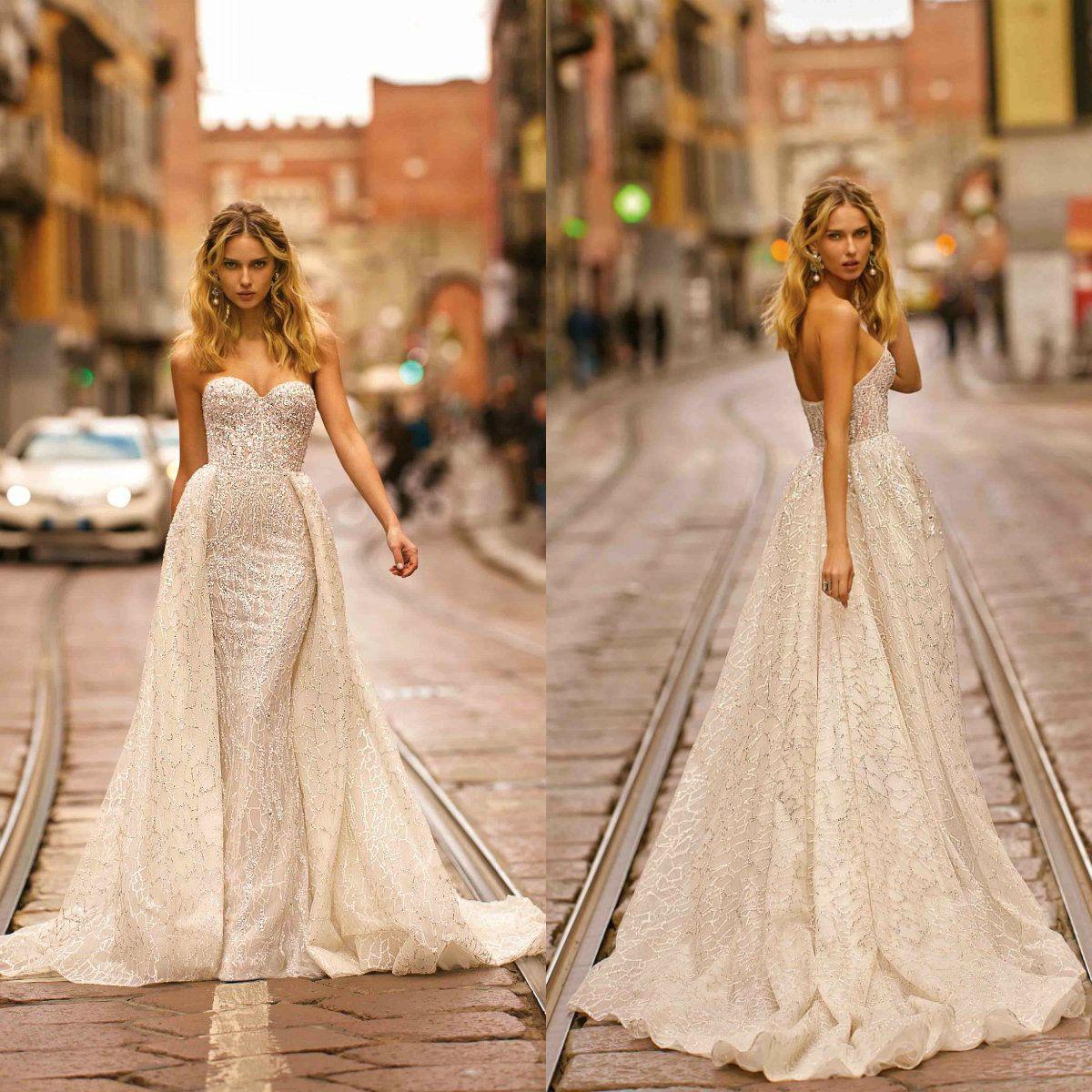 2020 Berta Mermaid Wedding Dresses With Detachable Train Sweetheart Sweep Train Lace Beaded Wedding Dress Custom Made Long Robe De Mariee