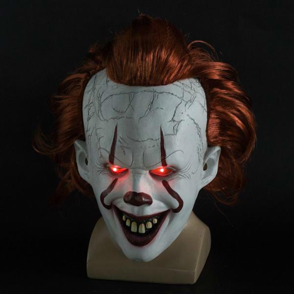Фильм S Это 2 Косплей Pennywise клоун Джокер Маска Тим Карри Маска Cosplay Halloween Party Реквизит LED маска маскарад маски оптом для мужчин